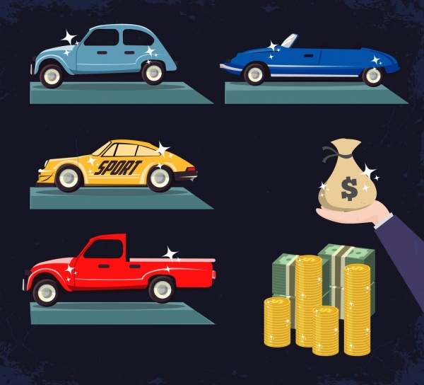 wealth design elements luxury cars money icons