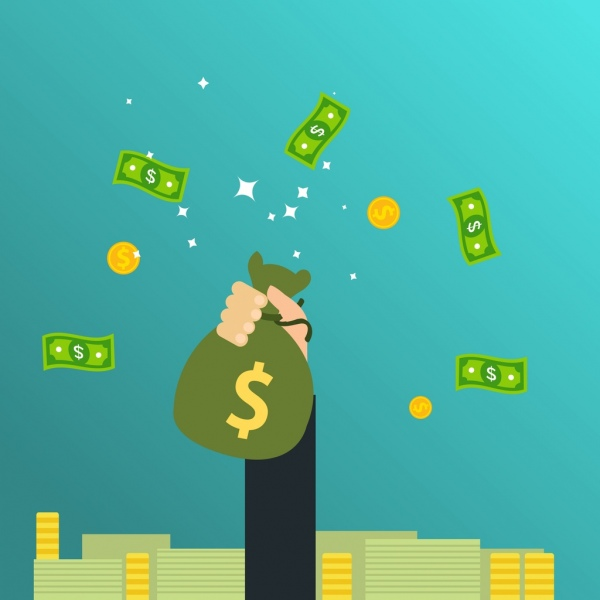 wealthy concept background money coin hand icons