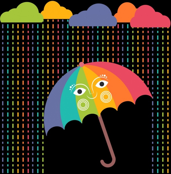 weather background colorful cloud rain drops umbrella icons