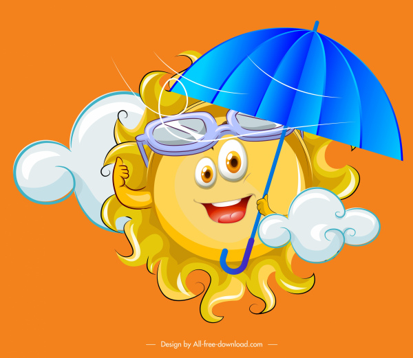 weather background funny stylized sun icon cartoon character