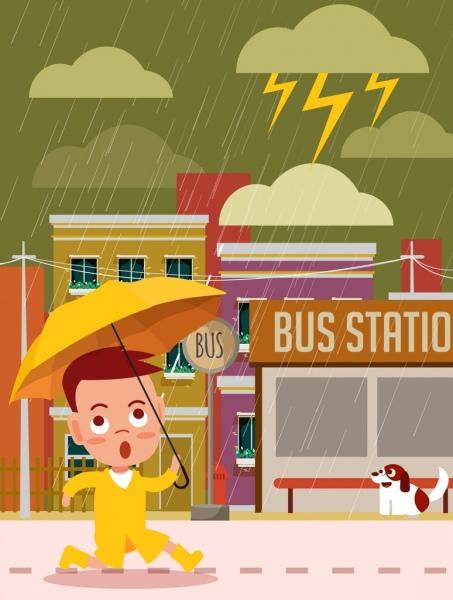 weather background kid umbrella rain icons cartoon design