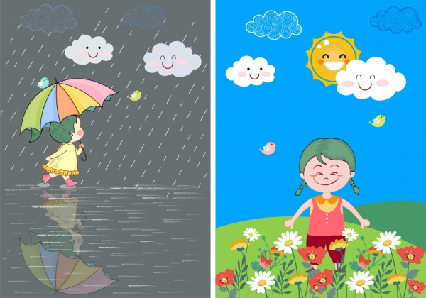 Weather background rainy sunny icons colored cartoon Free ...