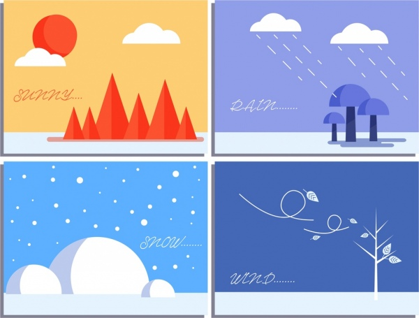 weather background templates sunny rainy snowy windy icons