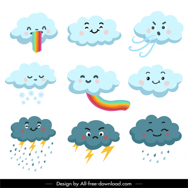 weather clouds icons cute stylized cartoon sketch