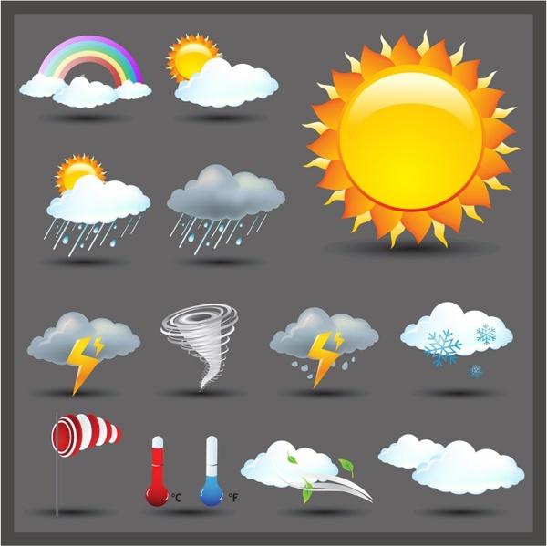 Weather Icon Set   Shiny Series / Dark