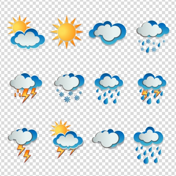weather icons cloud sun snow thunder rain symbols