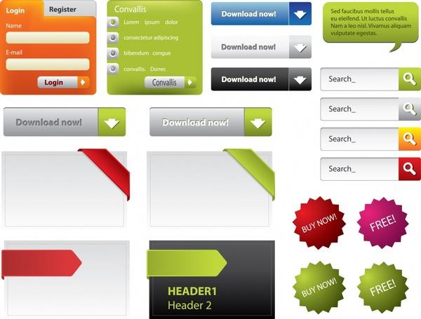 web design elements colored modern shapes