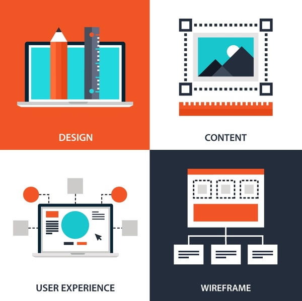 web design elements illustration with various symbols