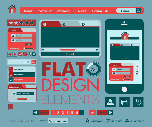 Web design elements templates with flat illustration Free vector in ...
