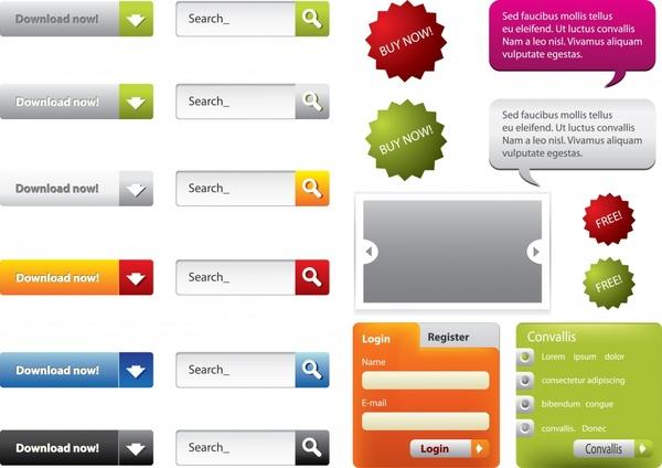 website design elements modern colored flat decor