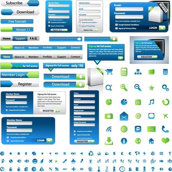 Web Design Elements Vector Set