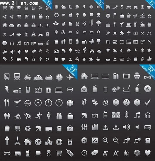 web design icons collection flat black white sketch