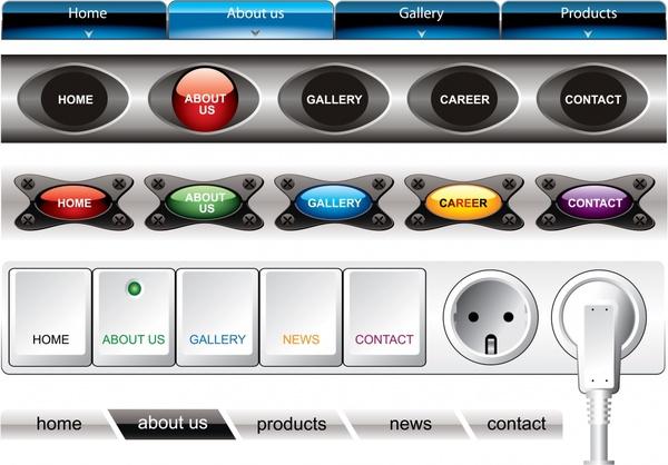 web navigation templates modern shaped buttons decor