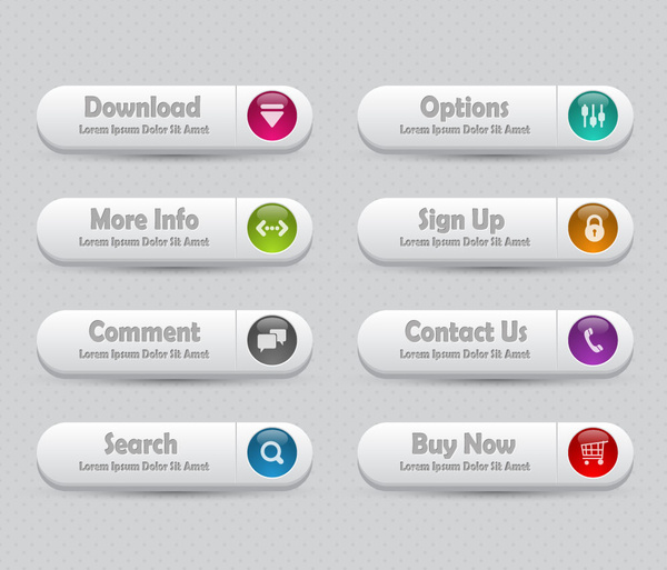 webpage buttons set design with white background