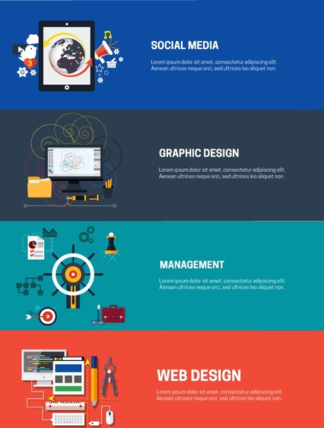 webpage design elements isolated in color flat style