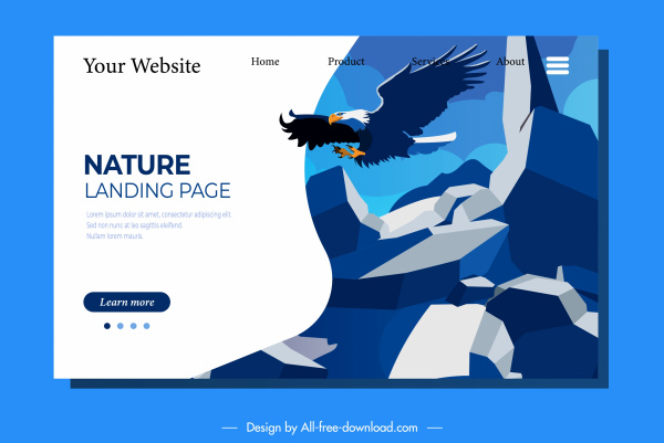 webpage template natural eagle rocky mountain sketch