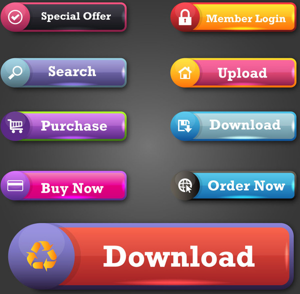 Website buttons design with shiny colored tabs Free vector
