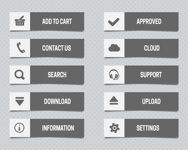 Website buttons with black and white user interface Free