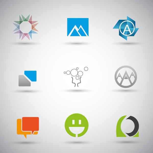 website icons design with various shapes illustration