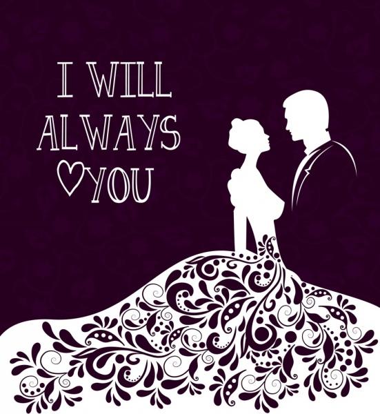 wedding background bride groom icon silhouette design