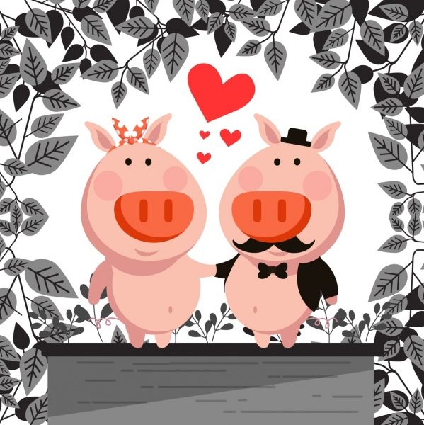 wedding background cute pigs couple icon stylized cartoon