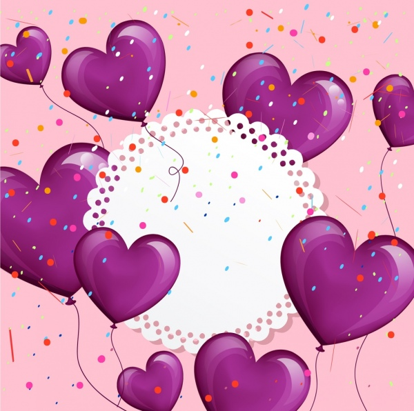 wedding background violet heart balloons decoration