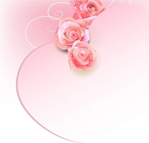 Wedding Background With Pink Roses Free Vector In Adobe