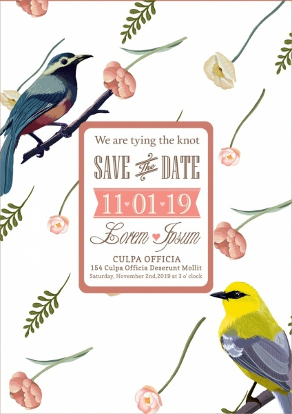 wedding banner colorful flowers birds icons decor