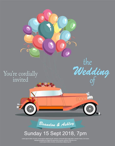 wedding banner design with vintage car and balloons free vector in adobe illustrator ai ai format encapsulated postscript eps eps format format for free download 1 69mb wedding banner design with vintage car