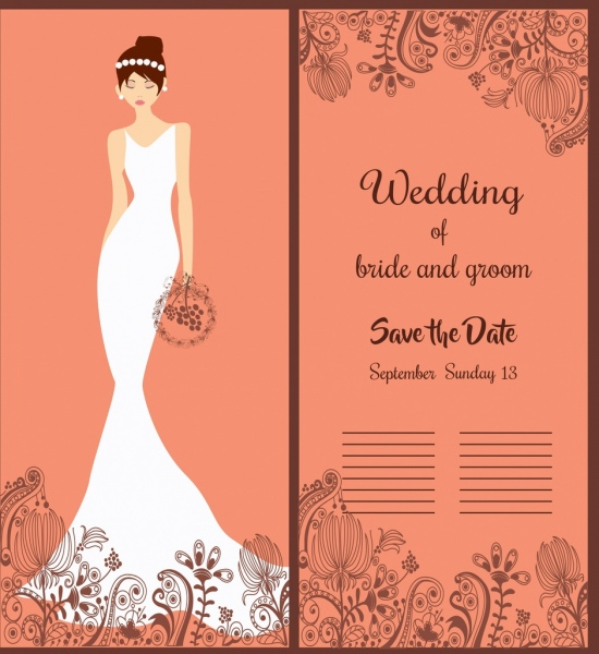 wedding banner elegant bride icon classical decor
