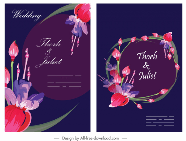 wedding banner template dark colorful elegant petals decor