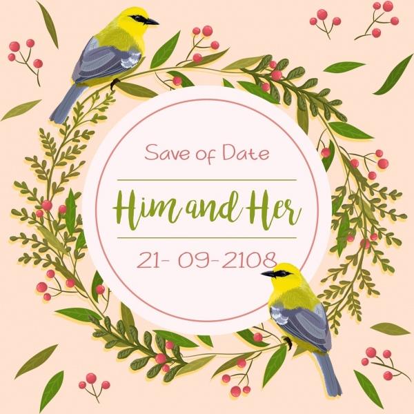wedding banner template flower wreath birds decoration free vector