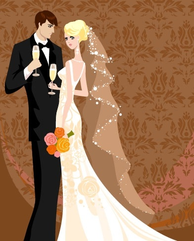 wedding card background 01 vector