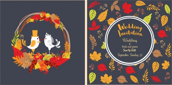 wedding card background autumn icons colorful ornament