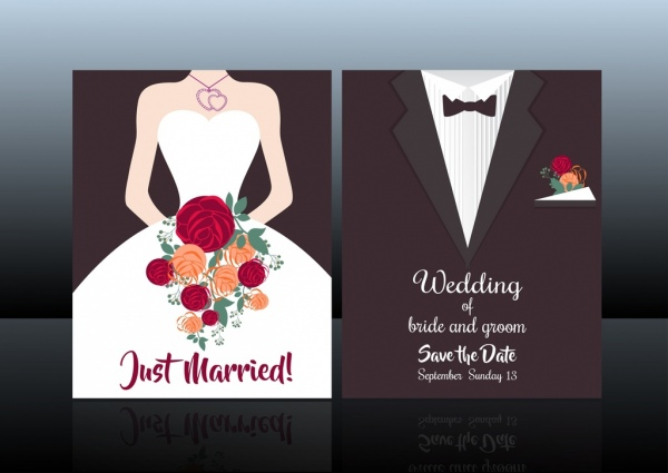 wedding card cover template bride groom fashion background