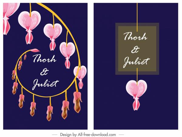 wedding card cover template classic heart lantern decor