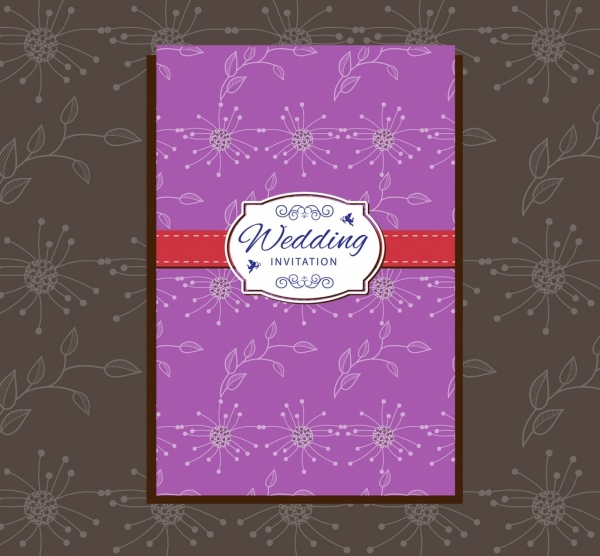 wedding card design violet classical flowers pattern