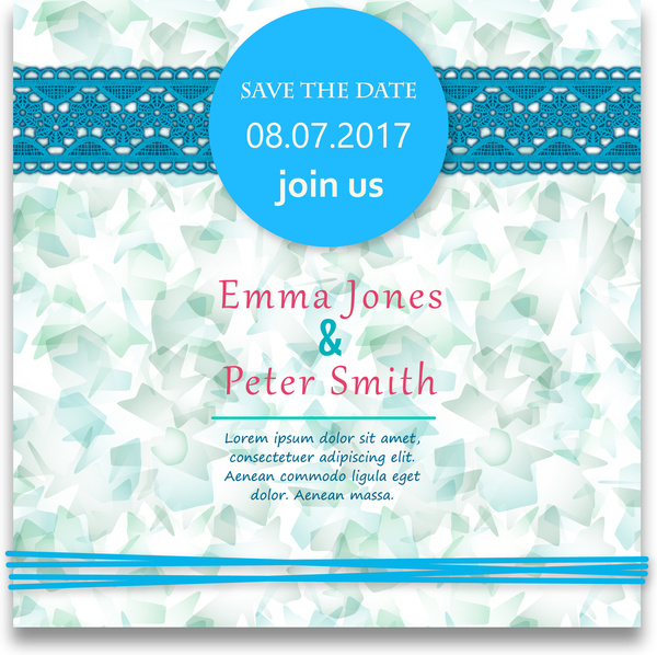 wedding card design with abstract blue background