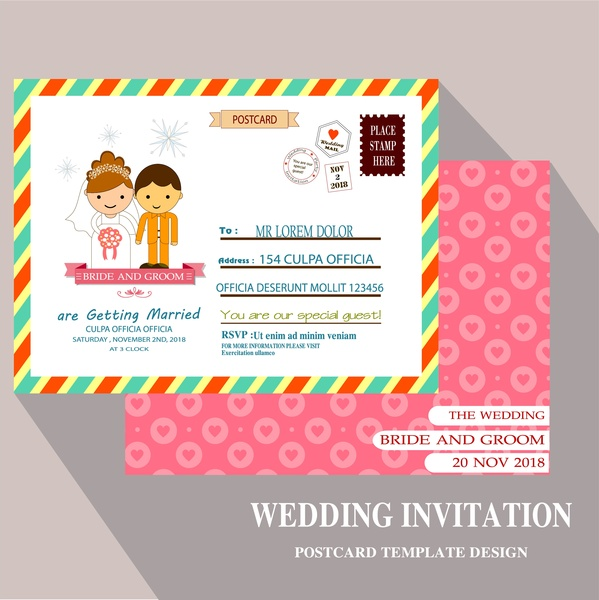 Wedding card design with postcard template Free vector in Adobe ...