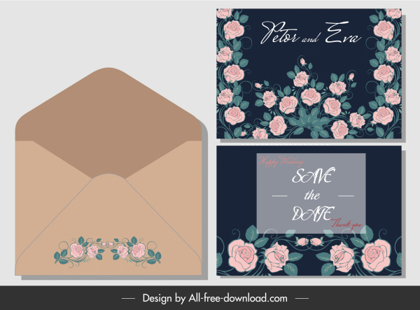 wedding card envelope template classical floral decor