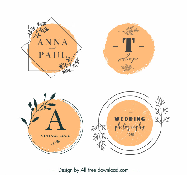 wedding card logo templates elegant retro handdrawn plants