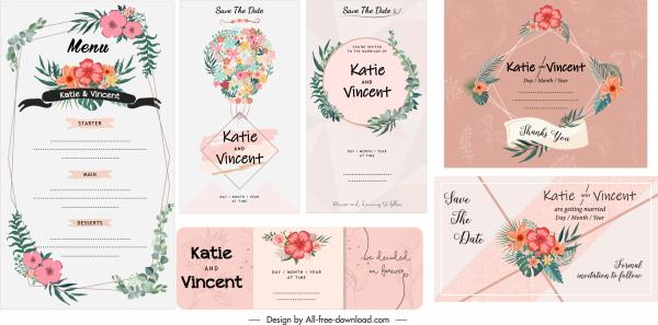 wedding card menu templates elegant classical floral decor
