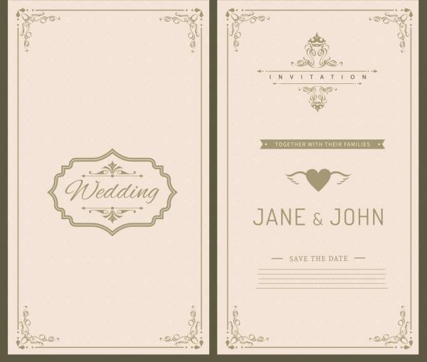 Wedding card template black white retro ornament Free vector in ...