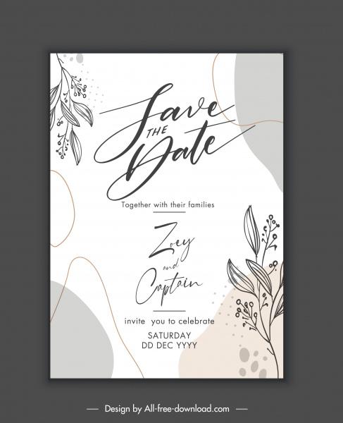 wedding card template classic elegant handdrawn botany decor