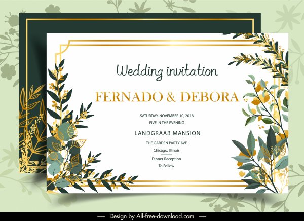 wedding card template classical colorful bright plants decor