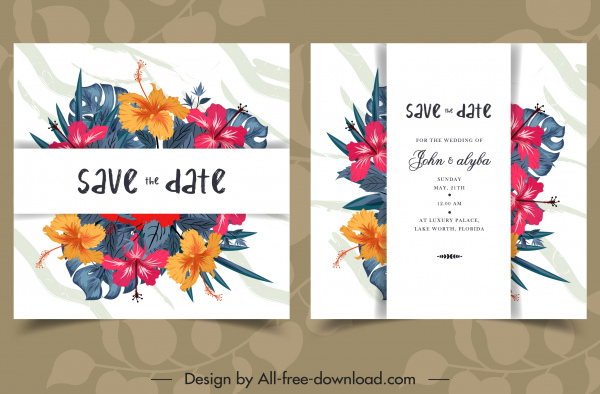 wedding card template classical colorful hibiscus decor