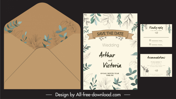 wedding card template classical elegant autumn leaves decor