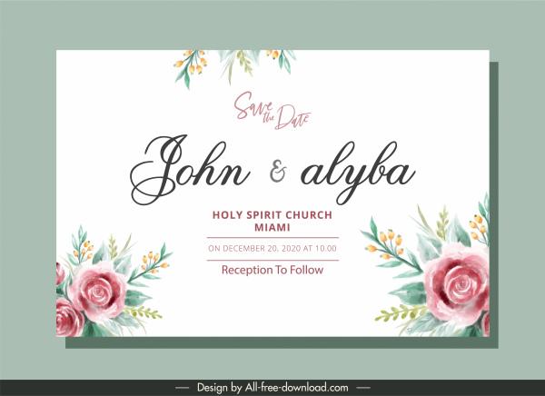 wedding card template classical elegant handdrawn floral decor