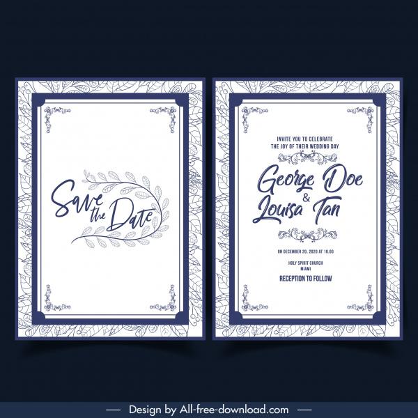 wedding card template classical elegant simple decor floral backdrop