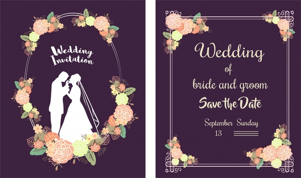 wedding card template classical style floral violet background